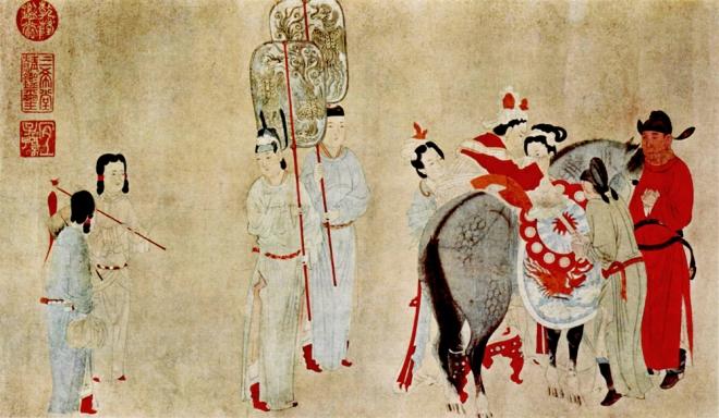 Yang Guifei Mounting a Horse, by Qian Xuan (1235-1305)