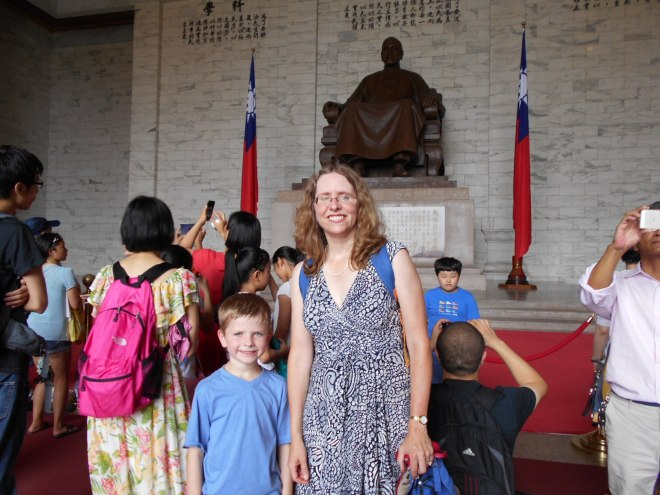 Kathryn Edgerton-Tarpley and her son Peter at the Chiang Kai-shek Memorial Hall in Taipei, July 2015.